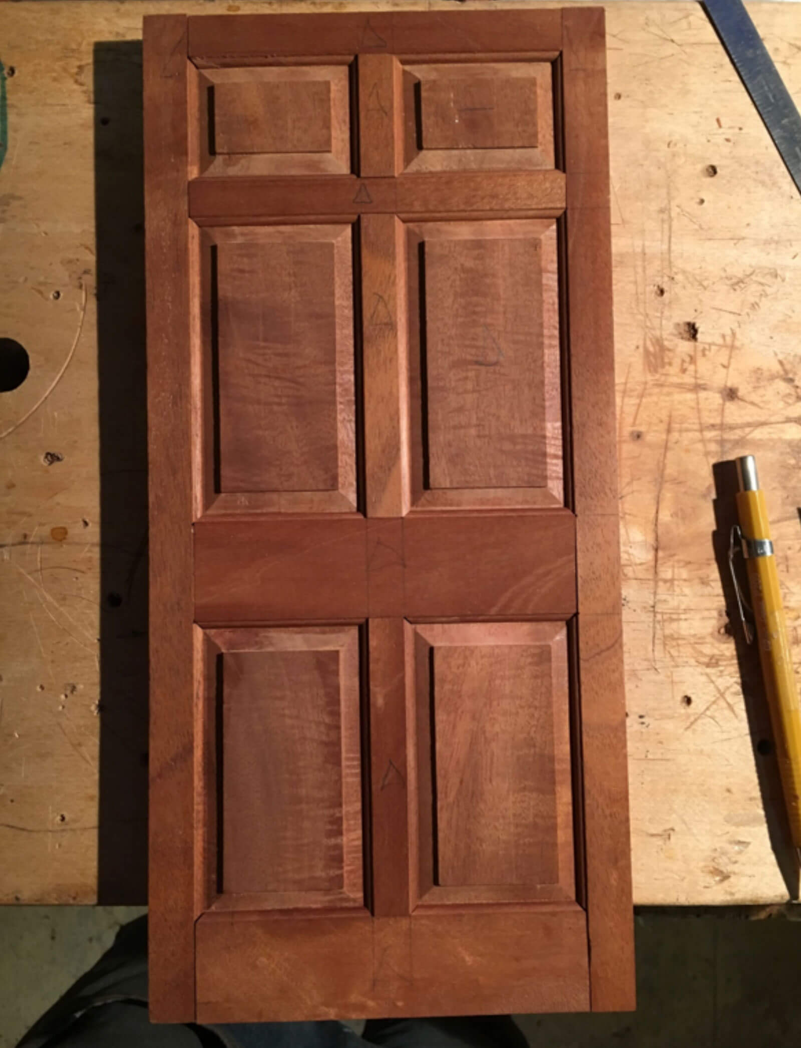 Miniature Cuban Mahogany Front Door for Dollhouse