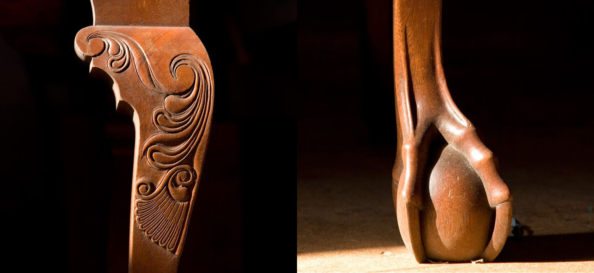 Newport Style Carving - Ball and Claw, Carved Knee