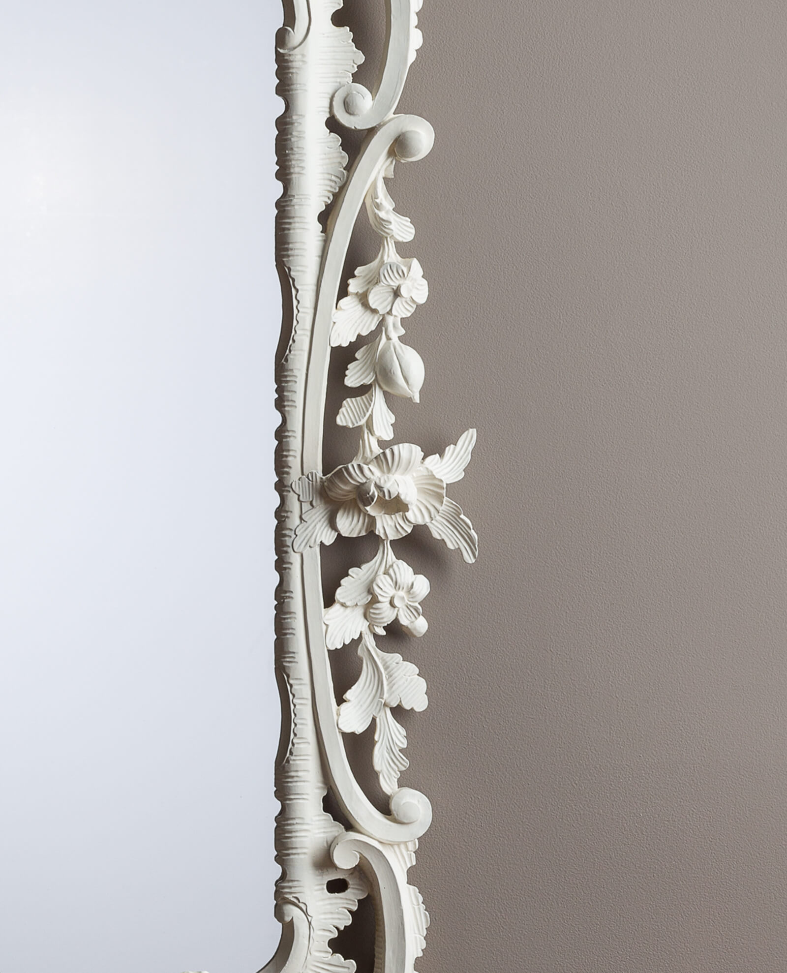 Rococo Mirror Flowers and Leaves Detail